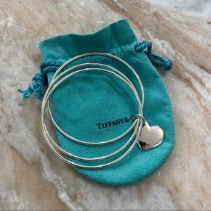 Tiffany & Co Triple Bangle Set with Heart Charm
